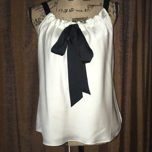 Ann Taylor Loft silk black and white cami top.